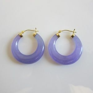 Lavender Jade & 14K Gold Hoops Earrings